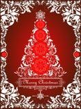 Carte de Noël rouge de vintage avec l'arbre de Noël de papier coupé et la frontière décorative florale Images stock