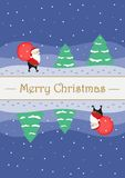 Carte de Noël de salutation avec Santa Claus mignonne illustration stock