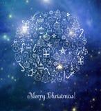 Carte de Noël sur le fond rougeoyant brouillé Image libre de droits