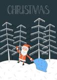 Carte de Noël de vecteur avec le père noël Photos stock