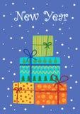 Carte de Noël de vintage avec des boîte-cadeau Image stock