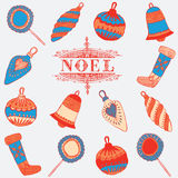 Carte de Noel. Décorations de Noël. Photographie stock libre de droits