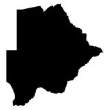Carte de noir du Botswana sur le fond blanc Photo stock
