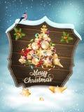 Carte de Noël avec des babioles ENV 10 Photographie stock