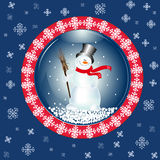Carte de Noël avec le bonhomme de neige Photographie stock