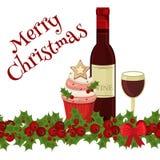Carte de nourriture de Noël avec la décoration de fête Photographie stock libre de droits