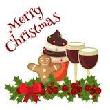 Carte de nourriture de Noël avec la décoration de fête Photo stock