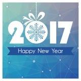 Carte de nouvelle année avec le fond polygonal bleu et boule de Noël avec le flocon de neige Photos libres de droits
