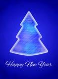Carte de nouvelle année, bonne année Arbre de Noël fait de glace Dirigez l'illustration sur un fond triangulaire bleu lumineux Photos libres de droits