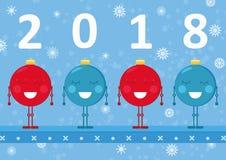 Carte de nouvelles années de Noël pour 2017-2018 avec quatre boules d'ornement de Noël Photographie stock libre de droits