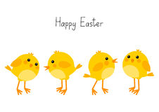 Carte de Pâques avec de petits poulets