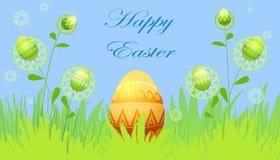 Carte de Pâques avec des fleurs et des oeufs Photo stock