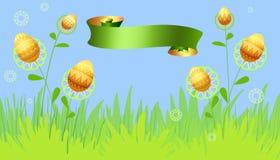 Carte de Pâques avec des fleurs et des oeufs Image stock