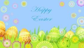 Carte de Pâques avec des fleurs et des oeufs Images libres de droits