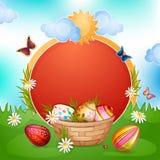 Carte de Pâques avec des oeufs de pâques. illustration libre de droits