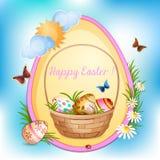 Carte de Pâques avec des oeufs de pâques. illustration stock