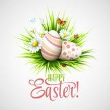 Carte de Pâques avec des oeufs et des fleurs Vecteur Images libres de droits