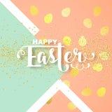 Carte de Pâques avec la salutation calligraphique illustration stock