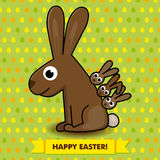 Carte de Pâques avec le lapin Photos stock