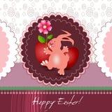 Carte de Pâques avec le lapin et la fleur Photographie stock libre de droits