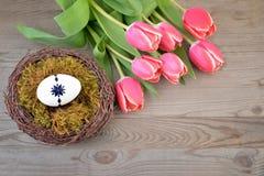 Carte de Pâques avec le nid image stock