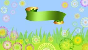 Carte de Pâques avec les fleurs et le baner Photographie stock libre de droits
