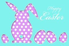 Carte de Pâques avec les oeufs et le lapin de modèle de points Image libre de droits