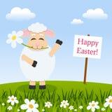 Carte de Pâques avec un agneau drôle Photo libre de droits