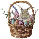 Carte de Pâques d'aquarelle Panier peint à la main avec la branche colorée d'oeufs, de lapin, de lavande, de tulipe, de saule et  illustration stock