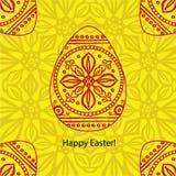 Carte de Pâques de griffonnage de vecteur Illustration rouge décorative originale Images libres de droits