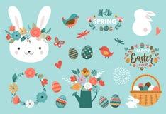 Carte de Pâques heureuse - éléments mignons de lapin, d'oeufs, d'oiseaux et de fleurs, illustration de vecteur illustration libre de droits