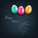 Carte de Pâques heureuse avec des oeufs illustration libre de droits