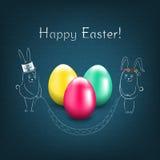 Carte de Pâques heureuse avec des oeufs illustration stock