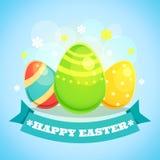 Carte de Pâques heureuse avec des oeufs Images stock