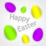 Carte de Pâques heureuse avec des oeufs de pâques Photo stock