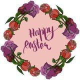 Carte de Pâques heureuse avec la pivoine illustration stock