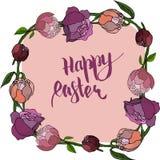 Carte de Pâques heureuse avec la pivoine illustration libre de droits