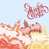Carte de Pâques heureuse avec le gâteau tiré par la main de Pâques Illustration de vecteur Illustration Libre de Droits