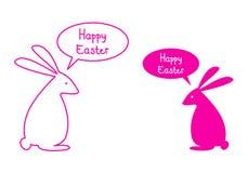 Carte de Pâques heureuse avec les lapins roses, vecteur illustration de vecteur