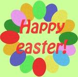 Carte de Pâques heureuse - avec de petits oeufs colorés images libres de droits