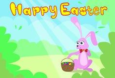 Carte de Pâques heureuse Bunny Basket Spring Landscape Photos stock