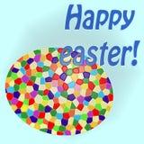 Carte de Pâques heureuse - grand oeuf coloré image stock