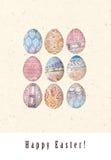 Carte de Pâques heureuse lumineuse Oeufs de pâques dans le style ethnique abstrait Fond élégant de vacances Images libres de droits