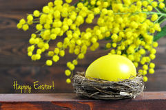 Carte de Pâques heureuse : Oeuf et mimosa de pâques Photo stock