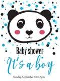 Carte de panda de fête de naissance illustration de vecteur