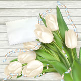 Carte de papier avec des tulipes ENV 10 Image stock