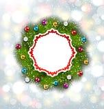 Carte de papier avec la guirlande et les boules de Noël Photos stock