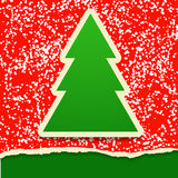 Carte de papier de déchirure avec l'arbre de Noël Photos stock