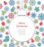 Carte de papier de Noël avec les éléments traditionnels illustration libre de droits
