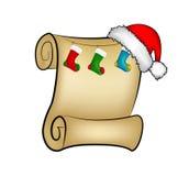 Carte de papier de rouleau de Noël avec des chaussettes de chapeau, de chapeau et de Noël de Santa Illustration de vecteur sur le Photo stock